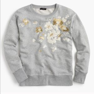 J Crew Grey Metallic Embroidered Floral Pullover S